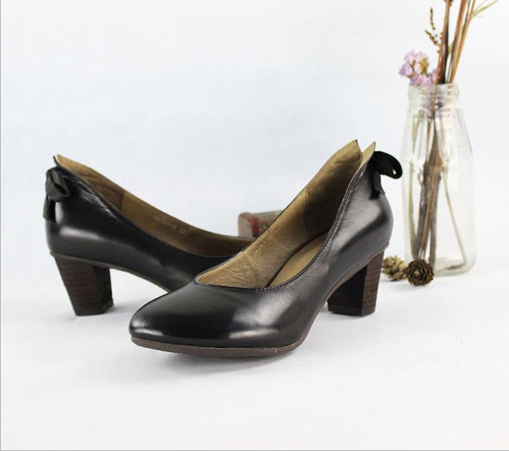 Girl Work Shoes High Heeled Shoes Black Pump Genuine Leather Pump High Qaulity(China (Mainland))