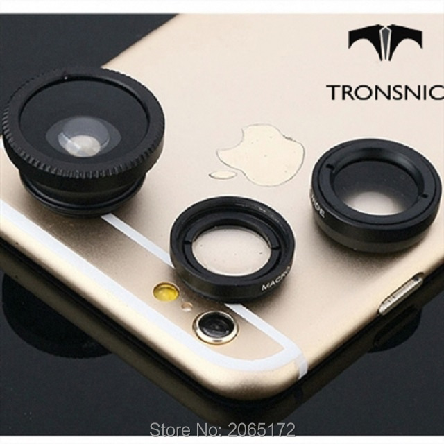 Tronsnic Universal Mobile Phone Lenses 3 in 1 Wide Macro Fish Eye Camera Lens For iPhone 5S 6 Samsun S5 S6 M9 Note6 Sliver Red