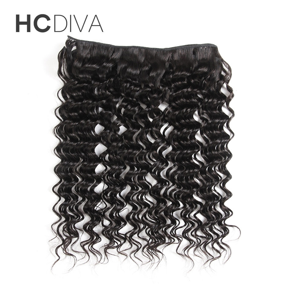 HCDIVA Human Hair Products Malaysian Deep Wave Hair 1 Piece Hair Extensions Weave 10-28 inch Non Remy Natural Black For femme