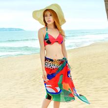 2015 New Brand Ruffle Sexy Bikini Women Bikinis Swimwear Beachwear Muslin Shawl Colorful Wraps Scarf Bathing Suit Three Piece