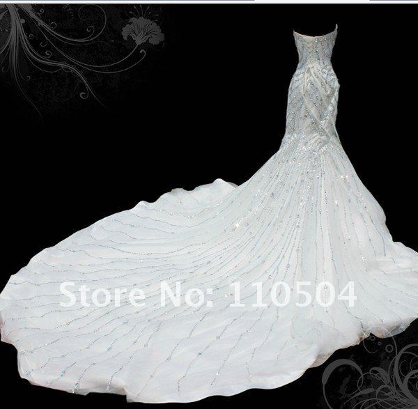 Long tail of 2012 the latest royal classic elegant and charming wedding zoo3(China (Mainland))