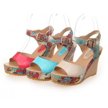 Women Sandals 2015 Open Toe Ladies Shoes Women High Heel Sandals Summer Shoes Women's Ankle Strap Floral Print Wedge Sandals(China (Mainland))
