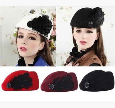 Noble Wool Fedoras Hat For Women Berets Feather Stewardess Cap Vintage Elegant Female Cap England Small Hat boina feminina(China (Mainland))