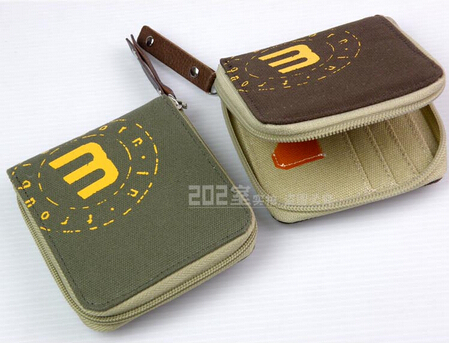 male men's casual wallet purse handmade student teen's canvas wallet card case with zipper around with coin purse free shipping(China (Mainland))