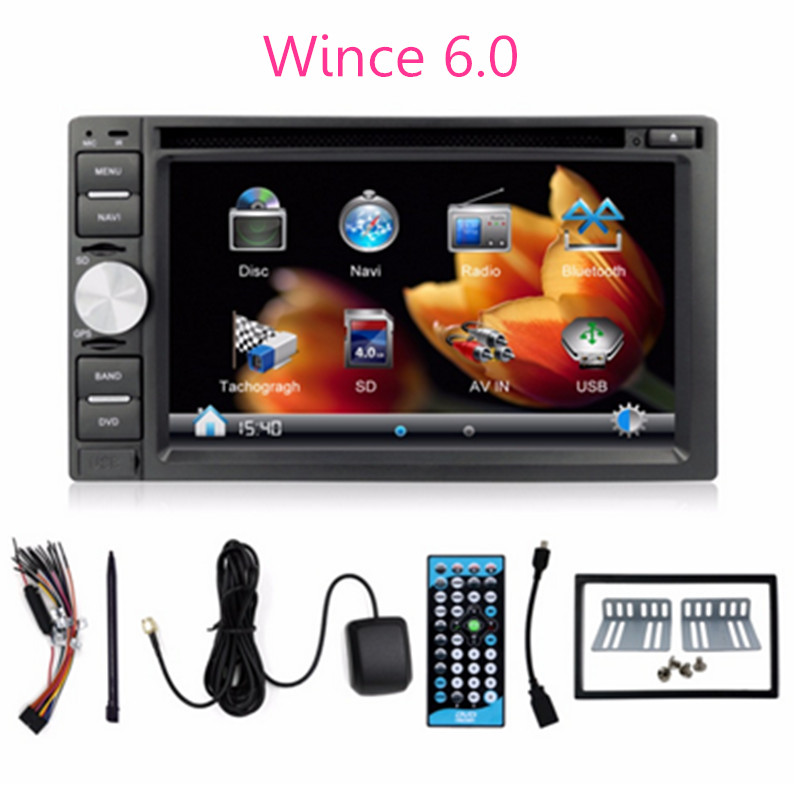 "wince 6.0 car dvd 2 din car dvd gps 6.2"" touch screen multimidia with mp4 Hands free Phone Play music change english language(China (Mainland))"