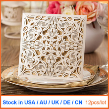 12pcs lot Laser Cut Wedding Invitations Blank Birthday Cards Party Decoration Supplies Stock In US UK