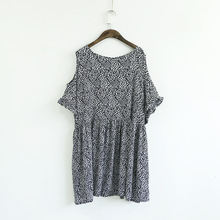 2015 Summer Style Mori Girl Loose Plus Size Knee Length Dress Half Sleeve Round Neck Strapless Dress Casual Print Chiffon Dress(China (Mainland))