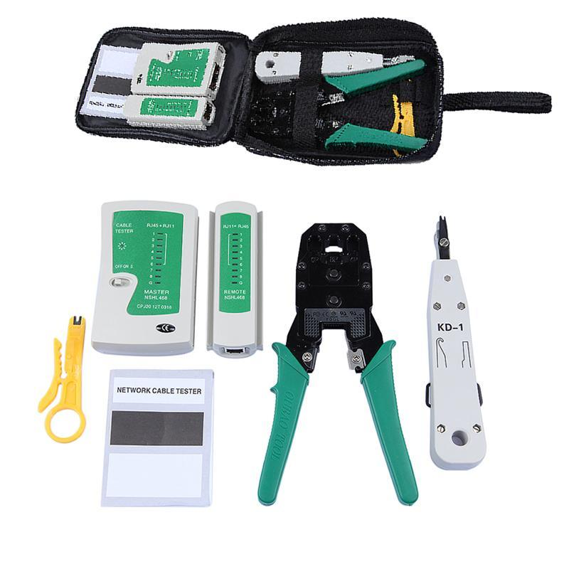 portable ethernet network cable tester rj45 kit rj45 crimper crimping tool rj45 punch down rj11. Black Bedroom Furniture Sets. Home Design Ideas