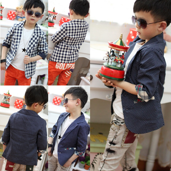 Boys Kids Toddlers Plaid Check Dots Casual Suit Jacket Coat Clothes Outwear 2-7Y(China (Mainland))