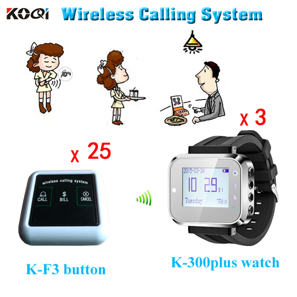 Service Equipment Restaurant Wireless Waiter Call Bell System with 25 Three-key Table Call Buttons and 3 Watch(China (Mainland))
