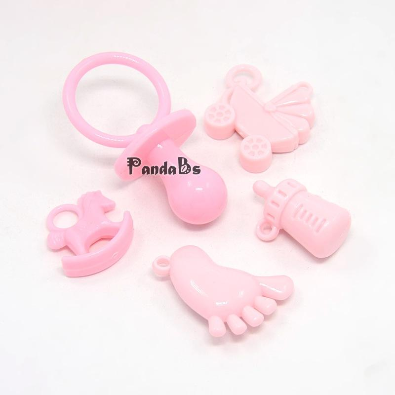 Baby Shower Ornaments Opaque Acrylic Pendants, Pacifiers, Baby Feet, Baby Carriage Pram, Rocking Horse, Baby Bottle Charms,(China (Mainland))