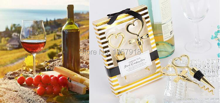 NEW Gold Color Bride and Groom Bottle Stopper and Opener Two Hearts Wine Favor Set Wedding Favor Wedding Souvenirs (9)