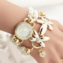 Fashion Jewelry Women Watch Luxury Pearl Bracelet Quartz Watch Women Watches Bracelet Wristwatch Femme Flower Reloj Mujer(China (Mainland))