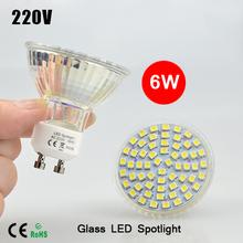 New ha condotto il riflettore gu10 lampada 6 w ac 220 v vetro resistente al calore del corpo 3528 smd 60 led bianco/bianco caldo ha condotto l'illuminazione delle lampadine(China (Mainland))