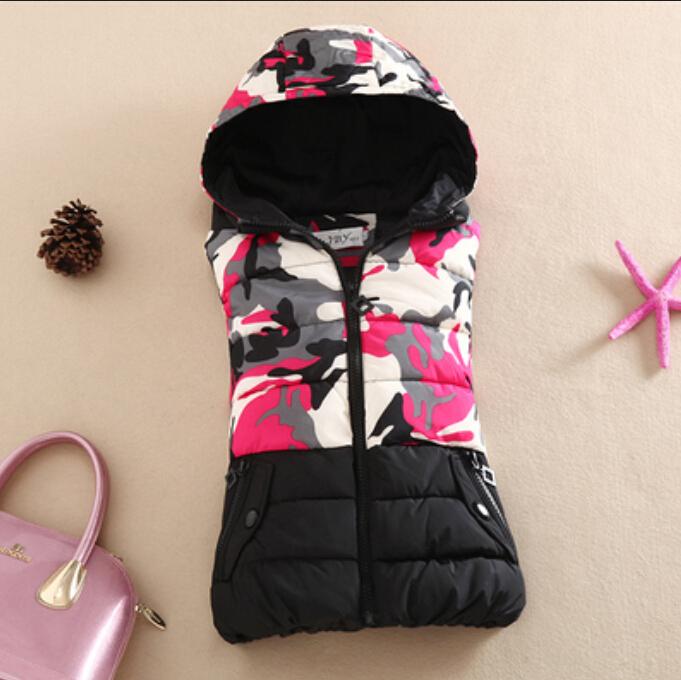 2015 winter Women's Camouflage jacket Sleeveless Down cotton coat female slim vest ladies parka hooded Overcoat