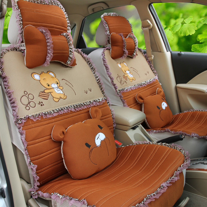 comfortable lace four seasons 3d cartoon small mouse car seat covers set full car seats cover. Black Bedroom Furniture Sets. Home Design Ideas
