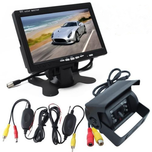 "Wireless18 IR LED Reversing Camera + 7"" LCD Monitor Car Rear View Kit For Truck(China (Mainland))"
