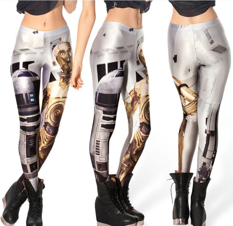 2016 Promotion Direct Selling Spandex Print Mid Sport Leggings Europe And The Milk Space Robot Digital Printing Star Leggings(China (Mainland))