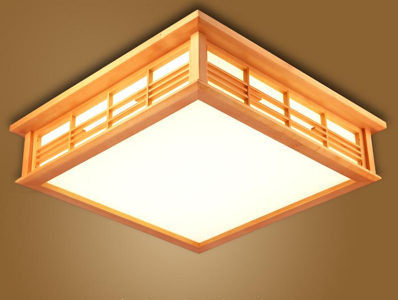 Japanese Ceiling Lights LED Square 45-55cm Washitsu Decor Shoji Lamp Wood and Paper Living Room Indoor lantern LED Lamp Lighting<br><br>Aliexpress