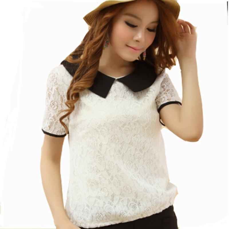 2014 NEW CHIC! plus size t shirt women clothing spring summer Lace tops tee clothes blouses t-shirts Trend Bow Wild Casual Tops(China (Mainland))