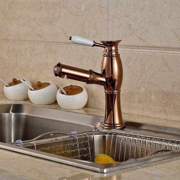 Фотография Rose Golden Pull Out Kitchen Faucet Ceramic Handle Vanity Vessel Sink Mixer Tap Hot and Cold Water