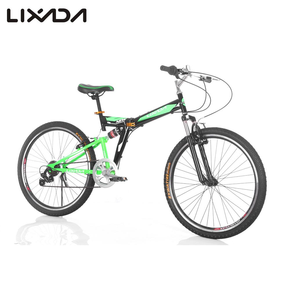 Lixada 26 inches Bicycles Carbon Steel 7 Speed Double Shock Absorption Folding Mountain Bike Double V Brakes Bicycle(China (Mainland))