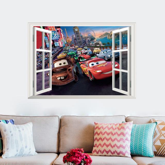 Мультфильм окна автомобиля стены стикеры для детей номеров мальчики девушка детские декор стола для детей детская комната украшение стены стикер