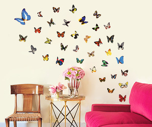 Removable 80 Butterfly Wall Art Sticker Home Decor Wall Decal Wallsticker Interior Decoration Bedroom Accessories Supplies(China (Mainland))