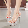 Women ultra thin sandals stage catwalk transparent crystal sandals high heels shoes 2016 summer new women