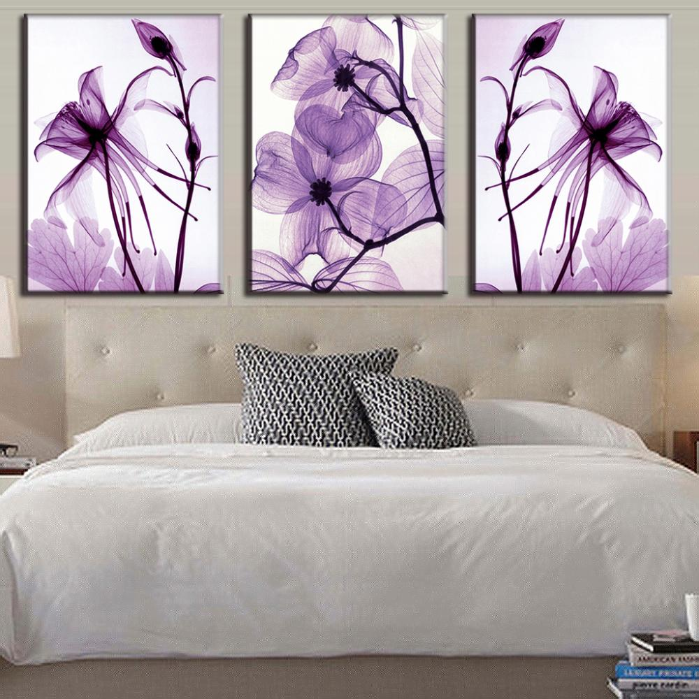 Combined 3 Pcs/set New Purple Flower Wall Art Painting Prints On Canvas Abstract Flower Veins Canvas Wall Picture for BedRoom(China (Mainland))