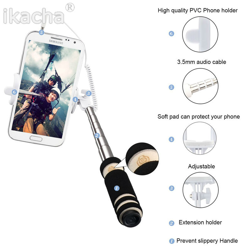 image for 2014 New Hot Sale Telescopic Selfie Jack Wired Bluetooth Remote Selfie