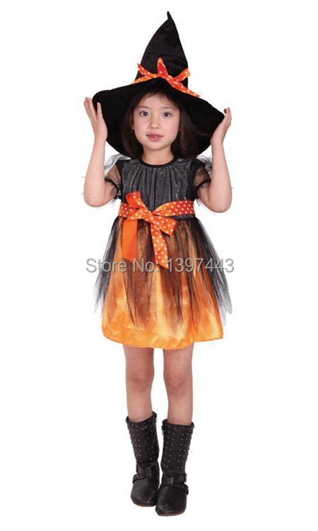 Cheap girls Pretty witch Orange Halloween costumes for children(China (Mainland))