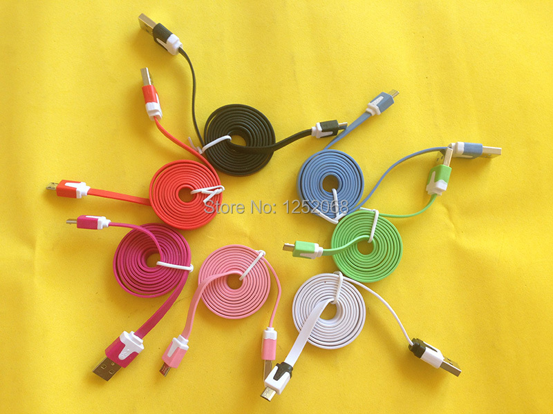 10pcs 1M 3ft Colorful Flat Micro Usb Sync Data Charger Cable For Samsung S3 S4 S5 HTC Nokia Android phones(China (Mainland))