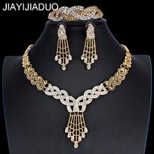 Jiayijiaduo חתונה אפריקאית תכשיטי דובאי זהב צבע תכשיטי סטים רומנטי צבע עיצוב תכשיטי סטי שרשרת Drop חינם(China)