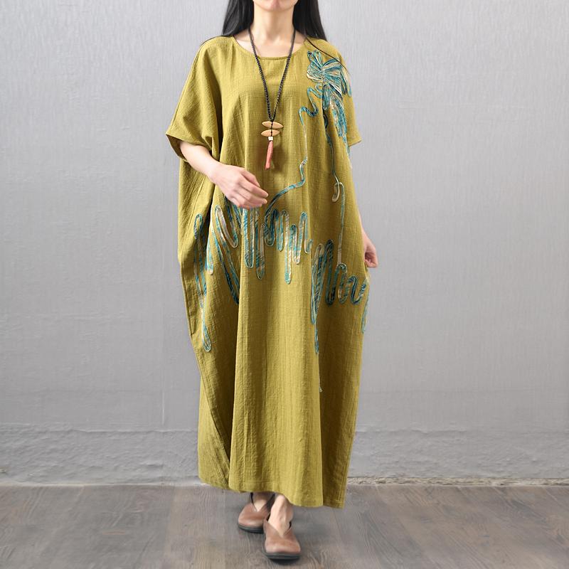 2016 Summer Fashion originality Design Arts Style Womens Short sleeve Long Dress Vintage Embroidery cotton linen Loose Dress T15(China (Mainland))