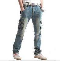 Large size jeans men 6xl plus size 28 to 48 hot sale water wash pockets cargo casual cool long pants denim jeans
