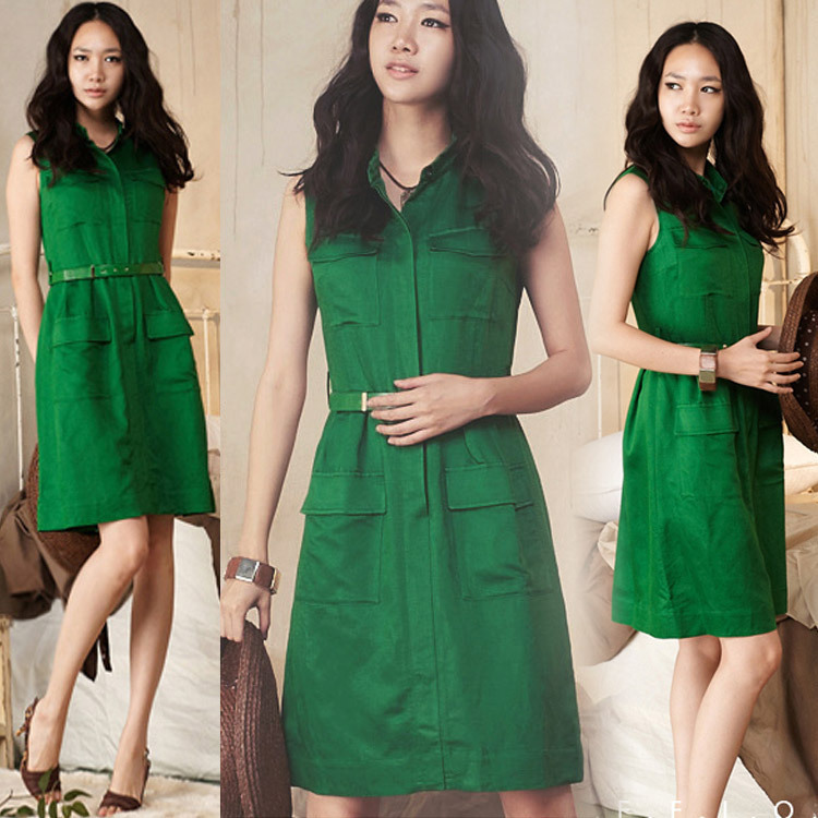 2015 Summer Sleeveless Slim Green Temperament Solid Color One-piece Dress Thin - Takira 1. store