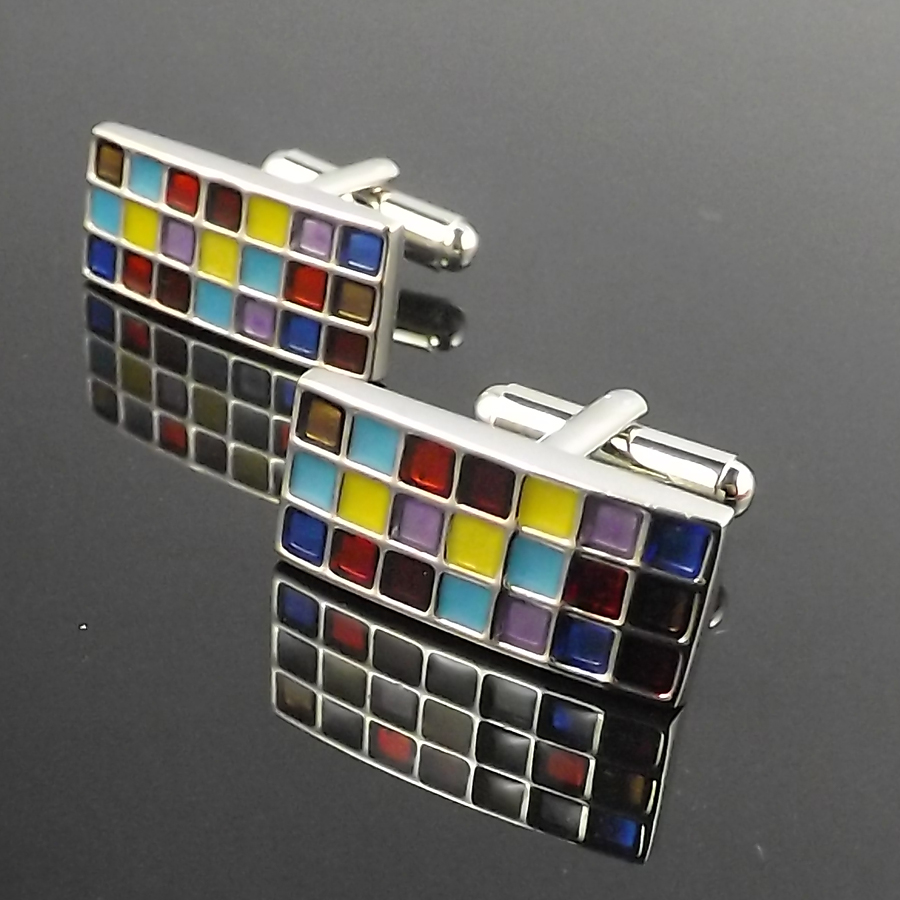 Colorful Enamel font b Tartan b font plaid squares Cufflinks Top Quality Copper Cuff Links For