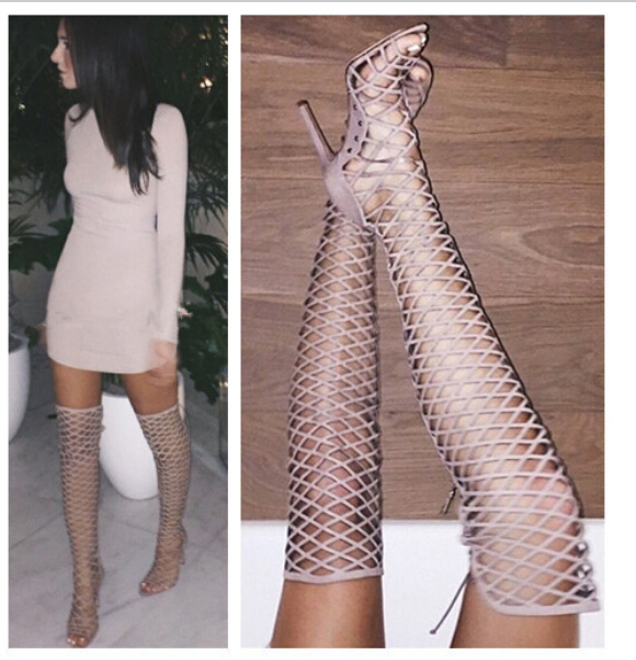 2016 Thin Heeled Over Knee High Heels Style Solid Color Hollow Peep Toe Women Sandals Boots Sexy Fashion Boots Shoes Woman Pumps