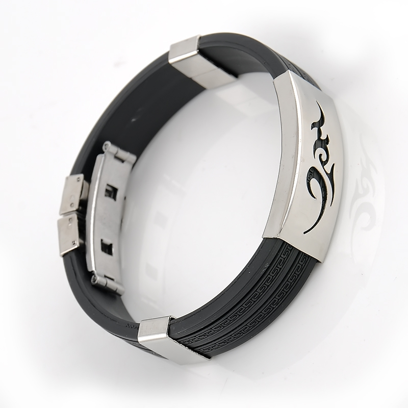 Punk Style 4 Colors Flames Print Stainless Steel Rubber Cuff Wristband Clasp Bangle Men Bracelet Free