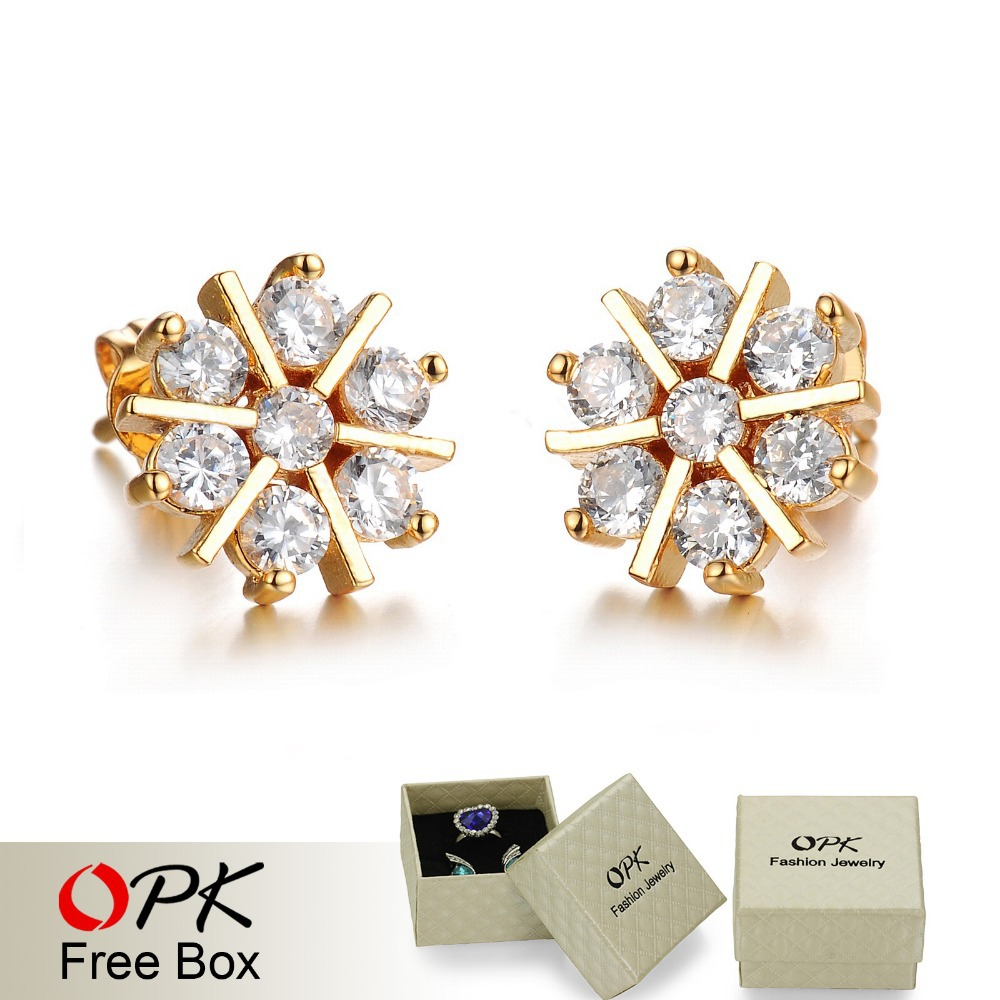 OPK New 18K Real Gold Plated Women Stud Earring Fashion Romantic Snowflake Design Austria Crystal Women Jewelry Cheap Price(China (Mainland))