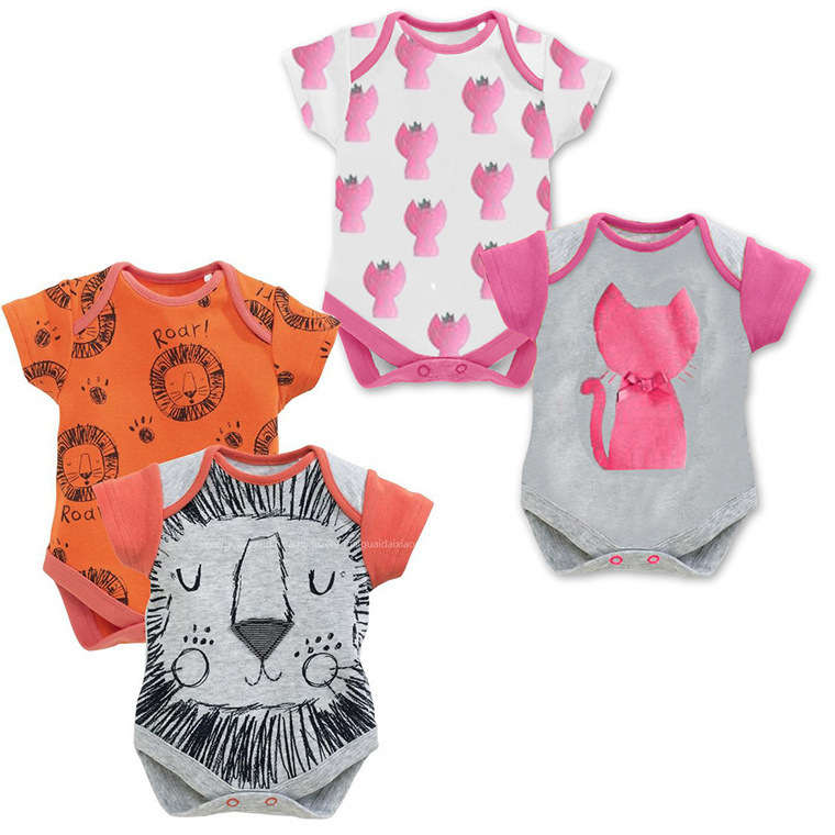 Baby Clothing Short Sleeve Animal Cat Lion Triangle Romper