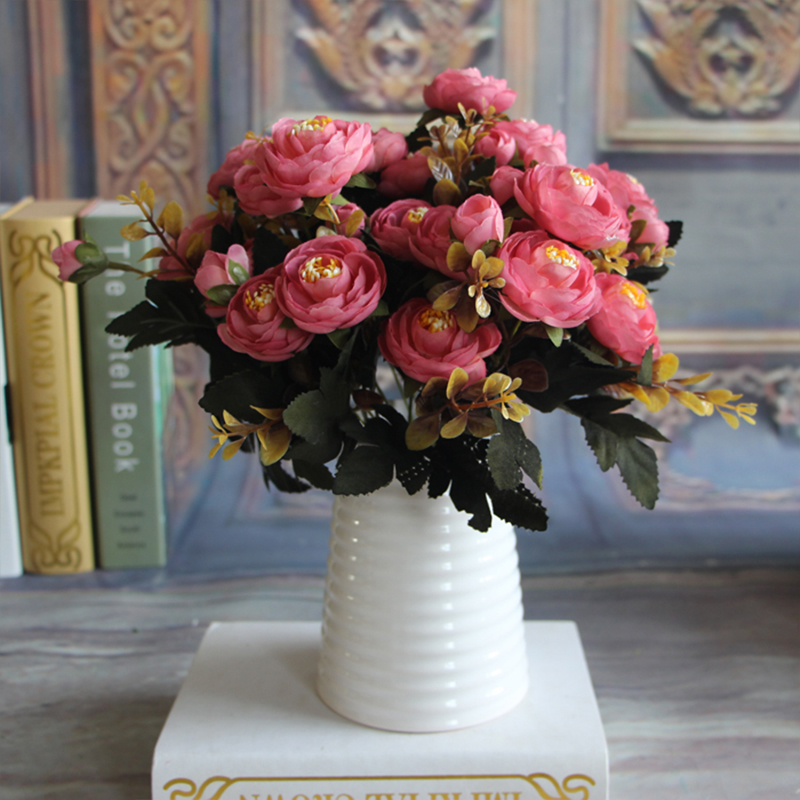 New Hot Vivid Autumn Artificial Fake Peony Flower Home Hotel Room Bridal Wedding Hydrangea Decor Real Touch(China (Mainland))