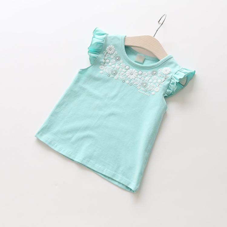 New 2016 summer girls baby flower children T-shirt kids fashion pretty cute knitted tops tees()