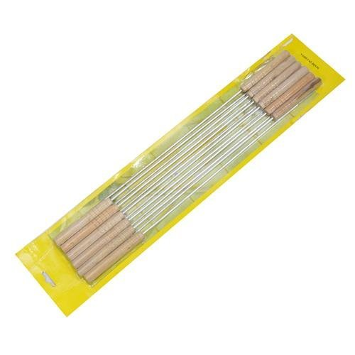 Free shipping-1set,Barbecue necessary-take wood handle stainless steel barbecue needle,bbq sticks(12pcs/set)