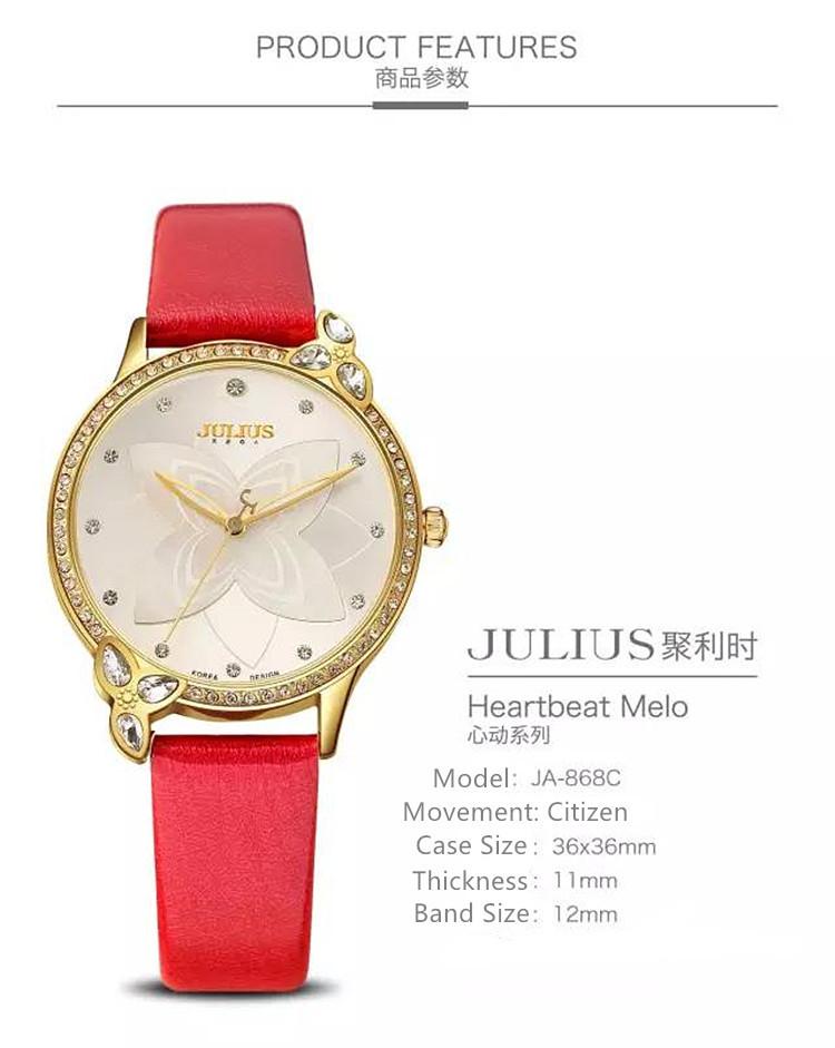 Леди женские Часы Япония Кварцевые Часы Часы Моды Горный Хрусталь Лили Платье Кожаный Браслет Девушка Подарок На День Рождения Коробка 868