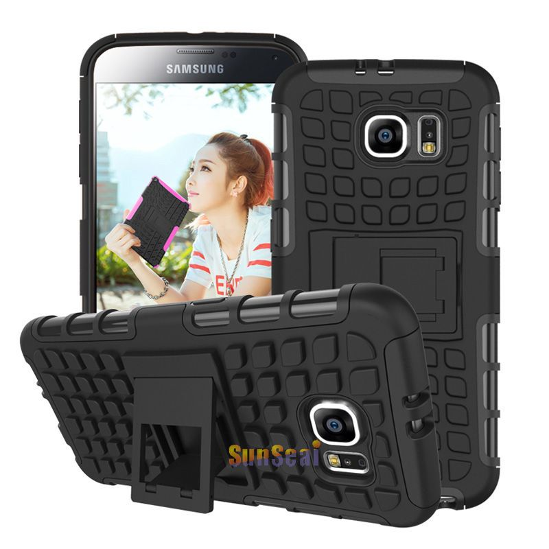 8 Colors For S6 Case Armor Hybrid Combo Hard Cover Heavy Duty Case For Samsung Galaxy S6 G9200 G920 With Kickstand PC + Silicone(China (Mainland))