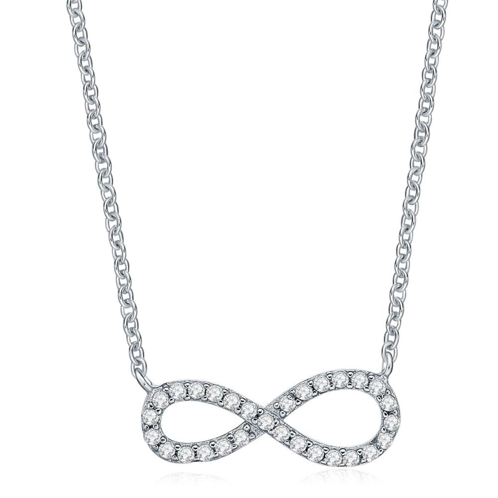 925 Sterling Silver Necklaces Infinity Pendent Fine Jewelry for Women Fashion 2016(China (Mainland))