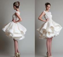 Knee Length Wedding Dress Bridal Dresses Lace Flowers And Satin Button Vestidos De Noiva Little White Lace Dress H17149(China (Mainland))