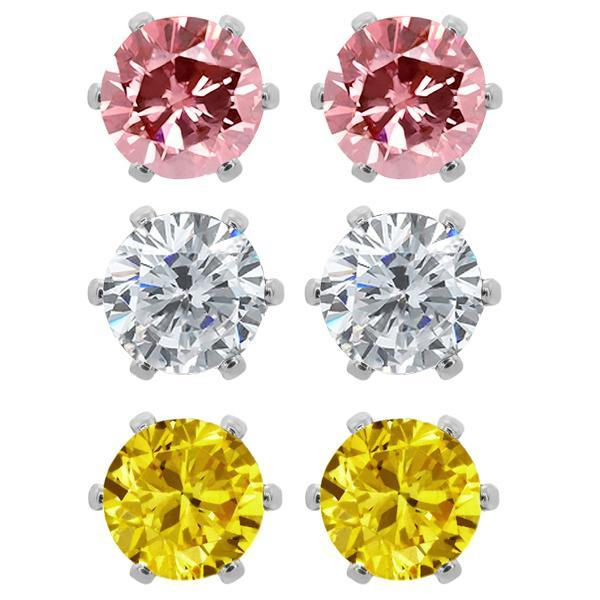 Ship From USA Set of (3) 6mm Round Cubic Zirconia Pink, Yellow White CZ Stud Earrings Fashion For Women silver plated USE001(China (Mainland))